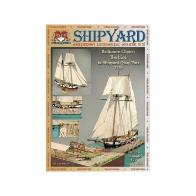Сборная картонная модель Shipyard балтиморский клипер Berbice в верфи Quay-Portt. 1780 г (№38), 1/96