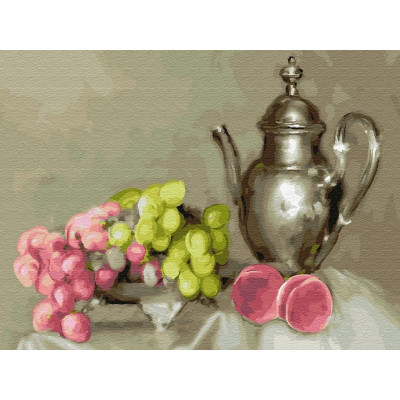 Картина по номерам 40х50 Бузин. Натюрморт с виноградом (28 цветов)