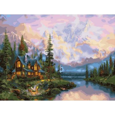 Картина по номерам 40х50 Дом на реке (28 цветов)