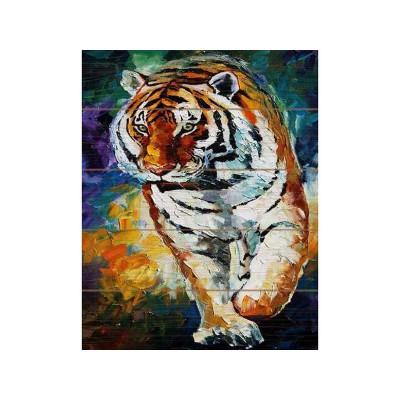 Картина по номерам на дереве 40х50 Афремов.Тигр (24 краски)