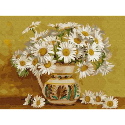 Картина по номерам с цветной схемой на холсте 30х40 Бузин. Ромашковое кружево (20 цветов)