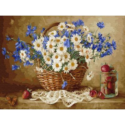 Картина по номерам 40х50 Бузин. Ромашковое настроение (28 цветов)