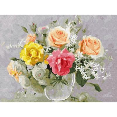 Картина по номерам 40х50 Бузин. Акварельный букет (30 цветов)