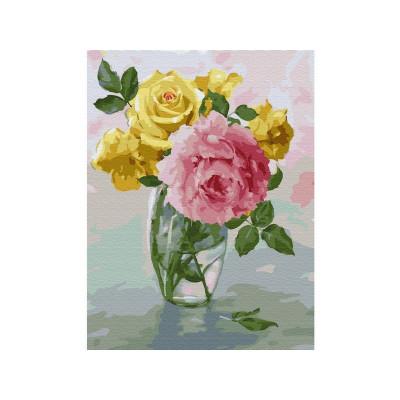 Картина по номерам с цветной схемой на холсте 30х40 Бузин. Пионы и розы (24 цвета)