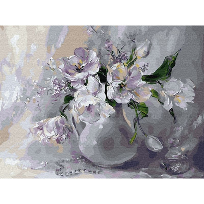Картина по номерам 40х50 Белые тюльпаны (25 цветов)