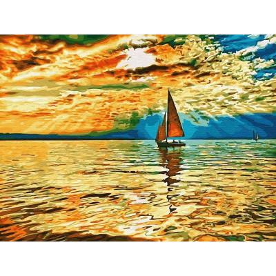 Картина по номерам 40х50 Заход солнца (22 цвета)