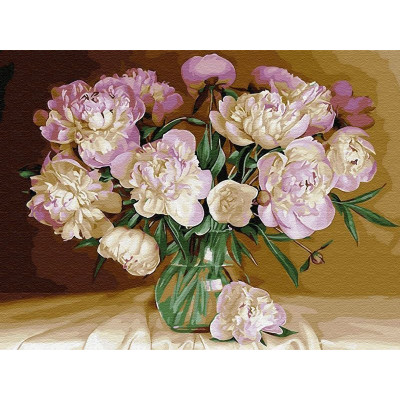 Картина по номерам 40х50 Бузин. Букет в теплых тонах (28 цветов)