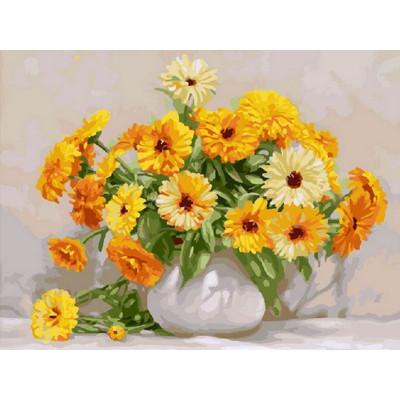Картина по номерам 40х50 Бузин. Букет календулы (28 цветов) №2